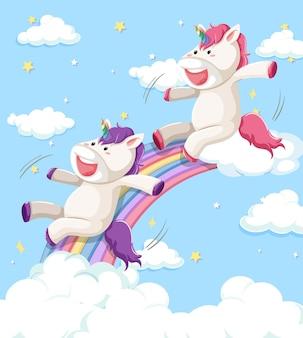 Unicornio feliz deslizándose sobre el arco iris con arco iris pastel aislado sobre fondo blanco.