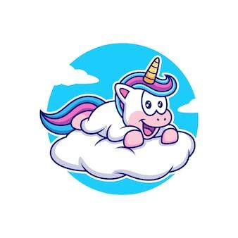 Unicornio feliz con dibujos animados de nubes. vector animal