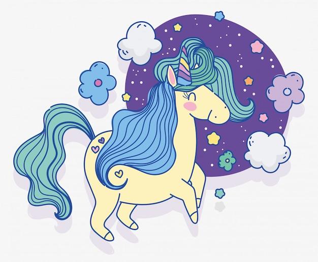 Unicornio flores nubes estrellas fantasía mágica caricatura ilustración vectorial