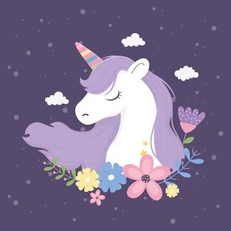 Unicornio flores nubes fantasía magia sueño lindo dibujos animados fondo oscuro ilustración