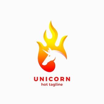 Unicornio en forma de llama signo abstracto, símbolo o plantilla de logotipo.