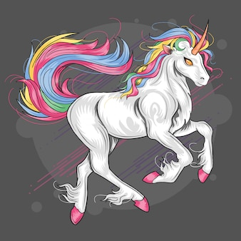 Unicornio full color rainbow vector