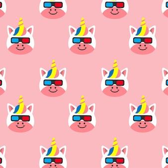 Unicornio con gafas ilustración de dibujos animados de patrones sin fisuras