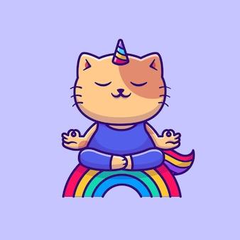 Unicornio gato haciendo personaje de dibujos animados de yoga. deporte animal aislado.