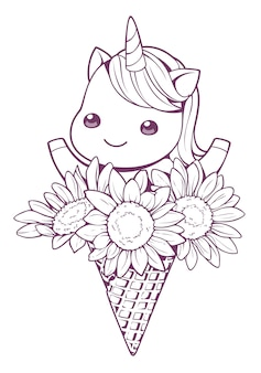Unicornio y girasol en cono doodle