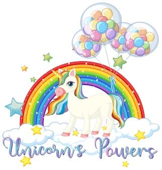 Unicornio con globo en el cielo
