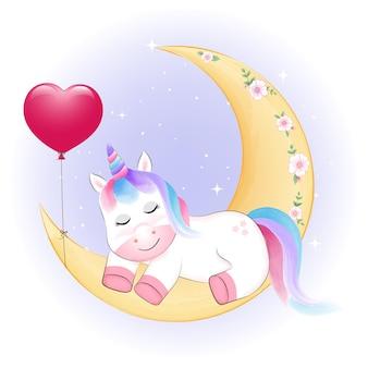 Unicornio y globo de corazón durmiendo en la luna.