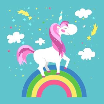 Unicornio de hadas con arco iris.