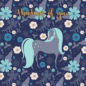 Unicornio hermoso rodeado de flores