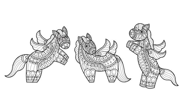 Unicornio. ilustración de boceto dibujado a mano para libro de colorear para adultos.