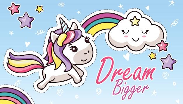 Unicornio de kawaii en el arco iris lindo de la nube sueño de letras más grande etiqueta