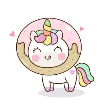 Unicornio kawaii con dibujos animados de donuts