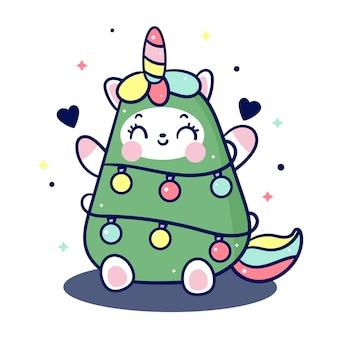 Unicornio kawaii en traje de árbol de navidad