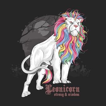Unicornio león a todo color arco iris
