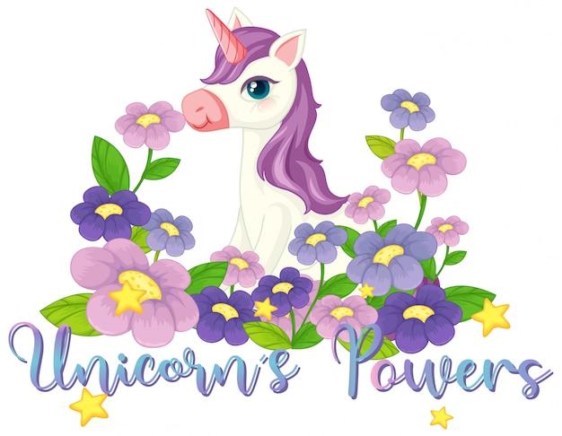 Unicornio en el letrero del jardín de flores