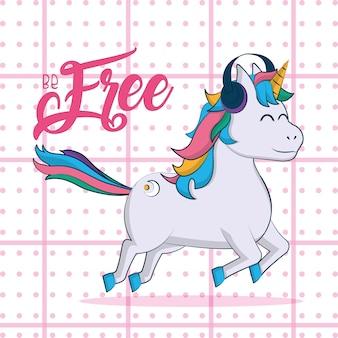 Unicornio libre con diseño gráfico del ejemplo del vector de los auriculares de la música