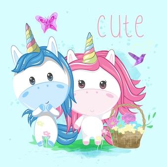 Unicornio linda pareja con fondo azul