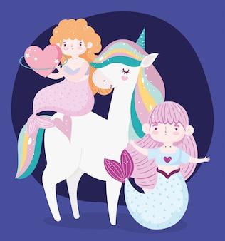 Unicornio y lindas sirenas con corazones.