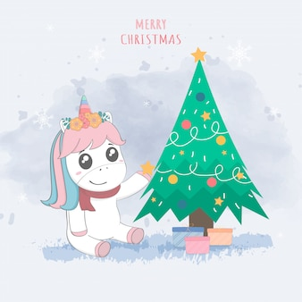 Unicornio lindo y árbol de navidad, postal de la feliz navidad