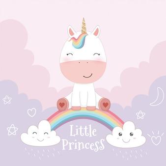 Unicornio lindo y arco iris en fondo rosado del cielo