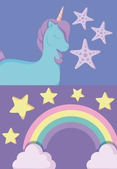Unicornio lindo con arcoiris de cuento de hadas