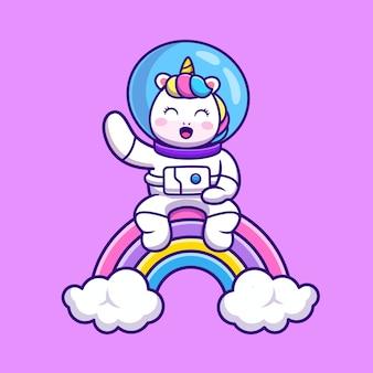Unicornio lindo astronauta sentado en dibujos animados de arco iris
