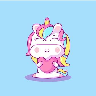 Unicornio lindo bebé con ilustración de vector de corazón