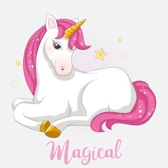 Unicornio lindo con brillo rosa y dorado.
