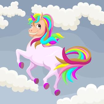 Unicornio lindo colorido volando entre nubes