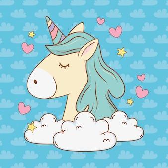 Unicornio lindo cuento de hadas relajarse en la nube