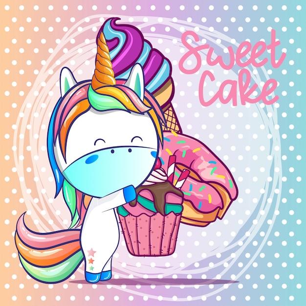 Unicornio lindo con dibujos animados de pastel dulce