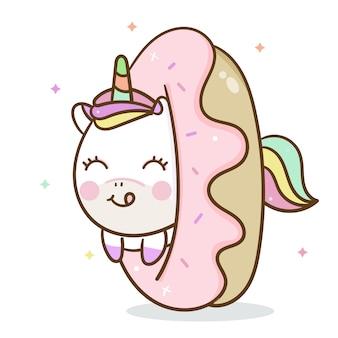 Unicornio lindo con donut