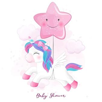 Unicornio lindo doodle con ilustración acuarela