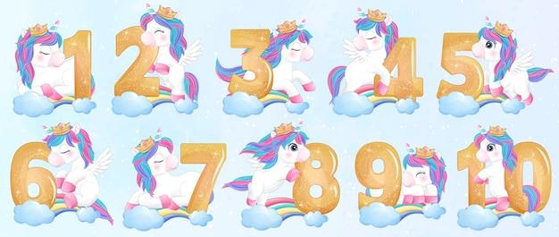 Unicornio lindo doodle con ilustración de conjunto de numeración