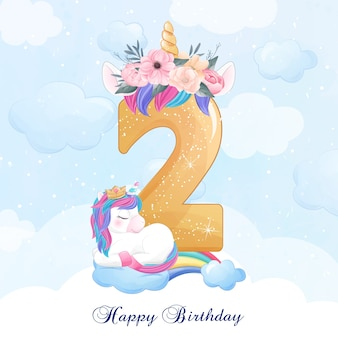 Unicornio lindo doodle con ilustración de numeración