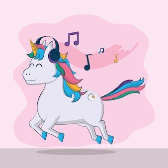 El unicornio lindo escucha música con diseño gráfico del ejemplo del vector de los auriculares