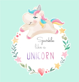 Unicornio lindo en la ilustración colorida del marco de la estrella y del corazón