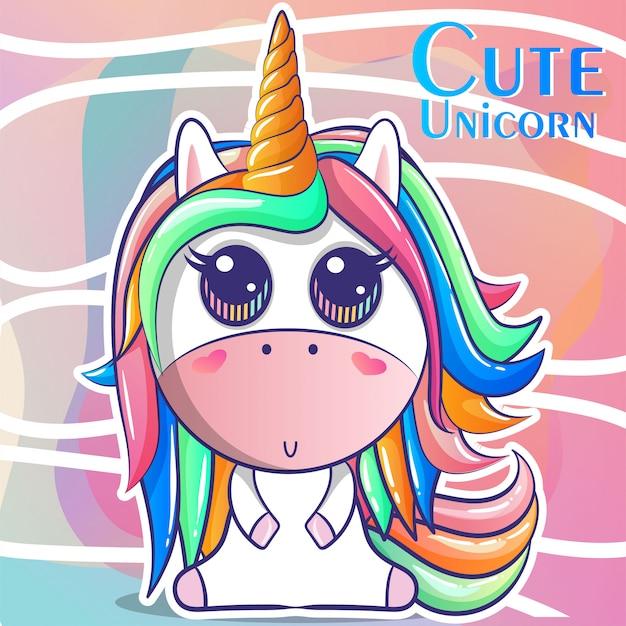 Unicornio lindo, ilustración de vector de tarjeta de ducha de bebé