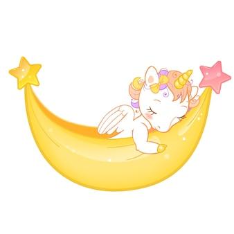 Unicornio lindo mágico en estilo de dibujos animados. doodle unicornio durmiendo en una hamaca.