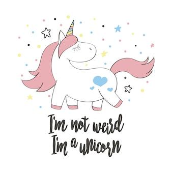 Unicornio lindo mágico en estilo de dibujos animados. doodle unicornio para tarjetas, carteles, estampados de camisetas, diseño textil