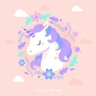 Unicornio lindo con marco de color pastel