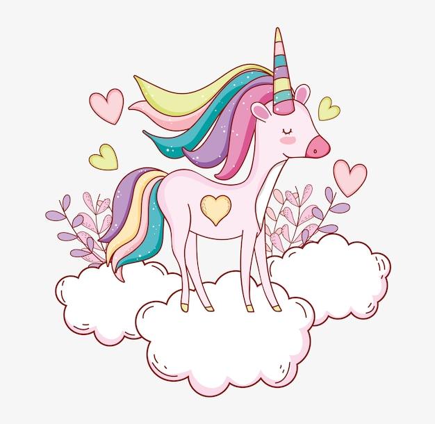 Unicornio lindo en la nube con corazones y plantas