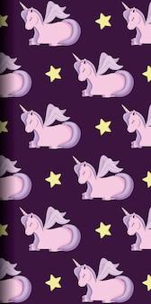 Unicornio lindo de patrón de cuento de hadas