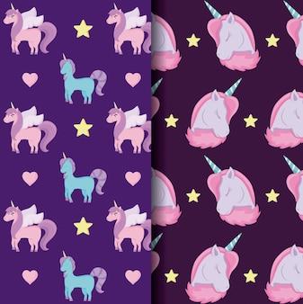 Unicornio lindo de los patrones de cuento de hadas