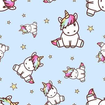 Unicornio lindo sentado de patrones sin fisuras