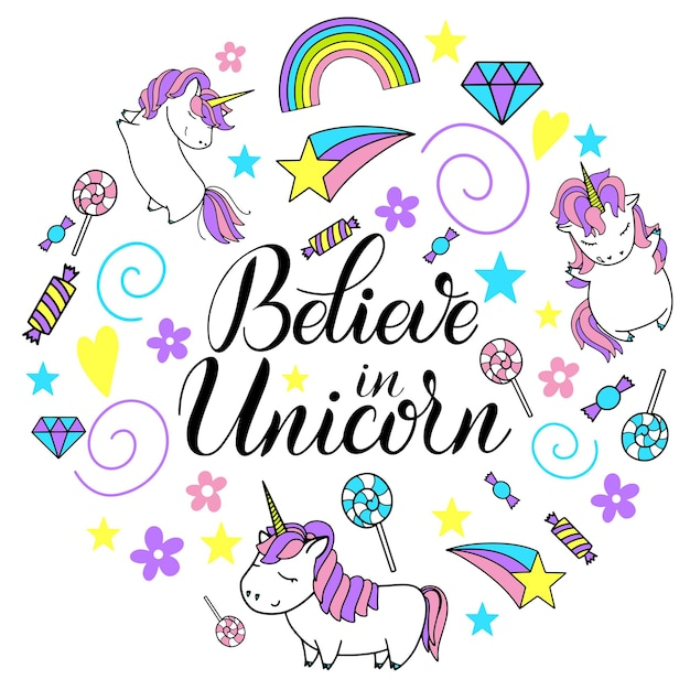 Unicornio lindo vector letras e ilustración. cree en los unicornios. diseño de tarjetas, carteles y camisetas.