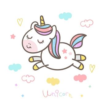 Unicornio lindo vector salto en el aire