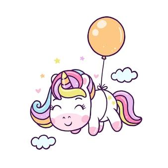 Unicornio lindo volar con globo aislado en blanco.