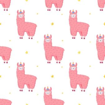 Unicornio de llama lindo, patrón sin costuras, alpaca esponjosa rosa.