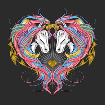 Unicornio lleno de espectro de arco iris pelo color, el unicornio twin hace una forma de corazón. las ilustraciones están en capas editables,